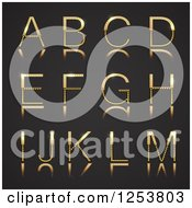 Clipart Of A 3d Capital Gold And Diamond Alphabet Letters A Through M On Black Royalty Free Vector Illustration by vectorace