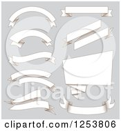 Clipart Of Paper Ribbon Banners On Gray Royalty Free Vector Illustration by vectorace