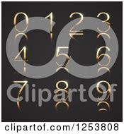 Clipart Of A 3d Gold And Diamond Numbers On Black Royalty Free Vector Illustration