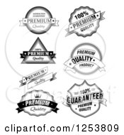 Clipart Of Black And White Quality Label Design Elements Royalty Free Vector Illustration