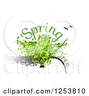 Clipart Of A Green Spring Tree With Text And Birds Royalty Free Vector Illustration by vectorace