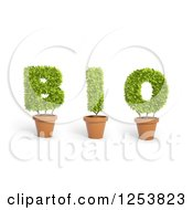 Clipart Of 3d Potted Leafy Plants Spelling Bio Royalty Free Illustration
