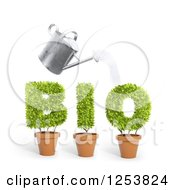 Clipart Of A 3d Watering Can Over Potted Plants Spelling Bio Royalty Free Illustration