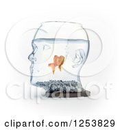 Clipart Of A 3d Goldfish In A Human Head Bowl Royalty Free Illustration by Mopic
