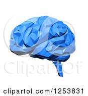 Clipart Of A 3d Blue Brain On White Royalty Free Illustration