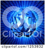 Clipart Of A 3d Blue Human Brain Over Binary Code Royalty Free Illustration