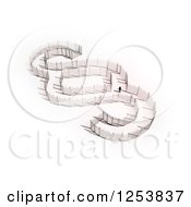 Clipart Of A 3d Man Walking In A Fence Section Sign Royalty Free Illustration