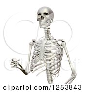 Clipart Of A 3d Human Skeleton Walking Royalty Free Illustration