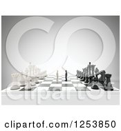 Clipart Of 3d Men Copeting On A Giant Chess Board Royalty Free Illustration