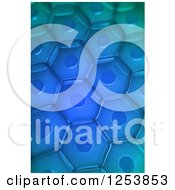 Clipart Of A 3d Blue Plant Cell Background Royalty Free Illustration