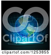 Clipart Of A 3d Hologram Of Earth Over A Smart Phone Royalty Free Illustration