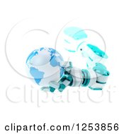 Clipart Of A 3d Robotic Arm Holding Planet Earth On White Royalty Free Illustration