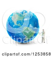 Clipart Of A 3d Male Doctor Holding A Stethoscope To Earth Royalty Free Illustration