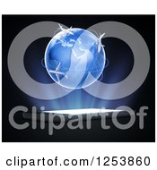 Clipart Of A 3d Globe With Airplanes Over A Cellphone Royalty Free Illustration by Mopic