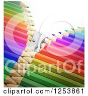 Clipart Of A 3d Sharpener Zipper Through Colorful Pencils Royalty Free Illustration by Mopic