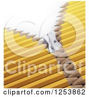 Clipart Of A 3d Sharpener Zipper Through Yellow Pencils Royalty Free Illustration by Mopic