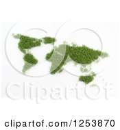 Clipart Of A 3d Grassy World Map Atlas On White Royalty Free Illustration