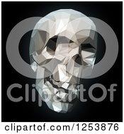 Clipart Of A 3d Geometric Human Skull On Black Royalty Free Illustration