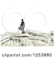 Clipart Of A 3d Businessman On A Pile Of Cash Money Over White Royalty Free Illustration