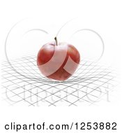 3d Red Apple Bending A Grid Spacetime Gravity Concept