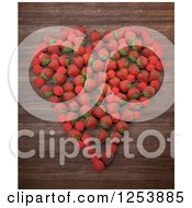 3d Heart Of Strawberries And Raspberries Over Wood
