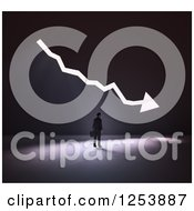 Clipart Of A 3d Businessman With Bright Light Shining Through A Decrease Arrow In A Wall Royalty Free Illustration by Mopic