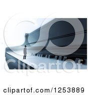 Clipart Of A 3d Tiny Man On A Piano Keyboard Royalty Free Illustration by Mopic