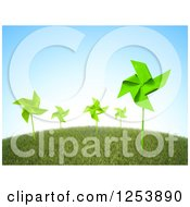 Clipart Of 3d Green Pinwheels On A Grassy Hill Royalty Free Illustration