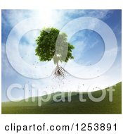 Clipart Of A 3d Uprooted Tree Floating Away Royalty Free Illustration by Mopic