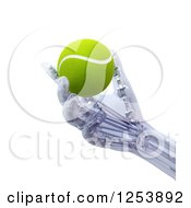 Clipart Of A 3d Artificial Prostheic Robot Hand Holding A Tennis Ball Royalty Free Illustration