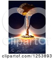 Clipart Of A 3d Nuclear Mushroom Cloud Over Earth Royalty Free Illustration by Mopic