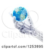 Clipart Of A 3d Artificial Prosthetic Robotic Hand Holding An Earth Globe Royalty Free Illustration