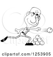 Clipart Of A Black And White Grandpa Christmas Elf Throwing Snowballs Royalty Free Vector Illustration by Cory Thoman