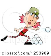 Clipart Of A Woman Christmas Elf Throwing Snowballs Royalty Free Vector Illustration