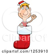 Clipart Of A Man Christmas Elf Waving In A Stocking Royalty Free Vector Illustration by Cory Thoman