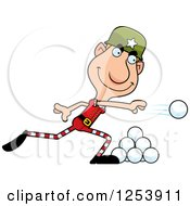 Clipart Of A Man Christmas Elf Throwing Snowballs Royalty Free Vector Illustration by Cory Thoman