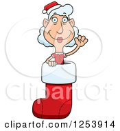 Clipart Of A Grandma Christmas Elf Waving In A Stocking Royalty Free Vector Illustration by Cory Thoman