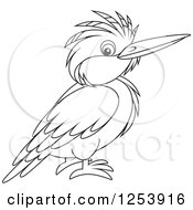 Clipart Of A Black And White Kingfisher Bird Royalty Free Vector Illustration by Alex Bannykh