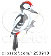 Clipart Of A Woodpecker Bird On A Tree Royalty Free Vector Illustration by Alex Bannykh