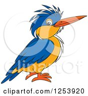 Clipart Of A Happy Kingfisher Bird Royalty Free Vector Illustration