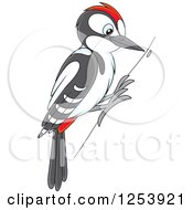 Clipart Of A Cute Woodpecker Bird On A Tree Royalty Free Vector Illustration by Alex Bannykh