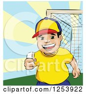 Clipart Of A Happy Boy Holding Chalk Royalty Free Vector Illustration