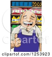 Clipart Of A Happy Male Merchant Holding A Thumb Up Royalty Free Vector Illustration