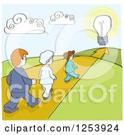 Clipart Of A Line Of People Walking Down A Path To An Idea Royalty Free Vector Illustration by David Rey