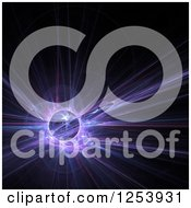 Clipart Of A Glowing Blue And Purple Fractal And Globe On Black Royalty Free Illustration
