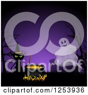 Clipart Of A Ghost And Halloween Witch Cat With A Cauldron Over Purple Royalty Free Vector Illustration