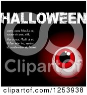 Clipart Of A Red Eyeball And Halloween Sample Text On Black Royalty Free Vector Illustration