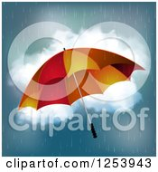 Clipart Of A Red And Orange Umbrella In The Rain Royalty Free Vector Illustration by elaineitalia