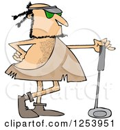 Clipart Of A Caveman Golfer With A Club Royalty Free Vector Illustration by Dennis Cox