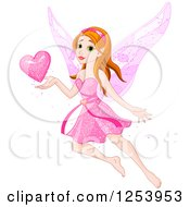 Clipart Of A Valentine Fairy Flying With A Pink Heart Royalty Free Vector Illustration
